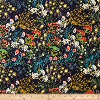 Art Gallery Indie Folk Meadow Rayon Challis Dim Dark Blue