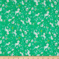 Art Gallery Floralia Fusion Jersey Knit Blossom Drift Emerald Green