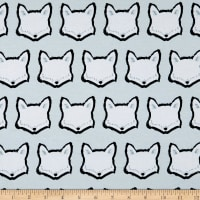 Art Gallery Nest Jersey Knit Clever Little Fox Light Blue