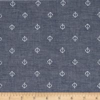 Kaufman Sevenberry Classiques Chambray Anchors Royal