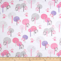 Kaufman Monkey Hangout Flannel Monkey Trees Pink