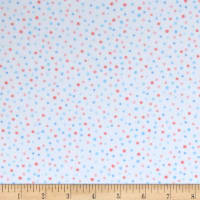 Kaufman Cuddly Kittens Flannel Dot Blue