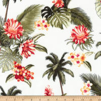 Kaufman Sevenberry Island Paradise Palm Trees and Flowers White