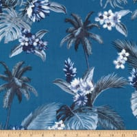 Kaufman Sevenberry Island Paradise Palm Trees and Flowers Blue