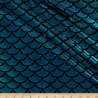 Pine Crest Fabrics Ariel Scallop Sparkle Activewear Stretch Knit Turquoise/Black