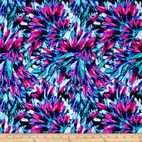 Pine Crest Fabrics Feathers Printed Athletic Knit Aqua/Pink