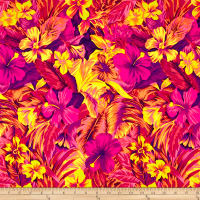 Pine Crest Fabrics Tahitian Floral Printed Athletic Knit Coral/Purple