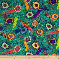 Pine Crest Fabrics Zack Attack Printed Athletic Knit Teal