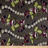 Telio Midnight Garden Embroidered Mesh Lace Black/Bordeaux