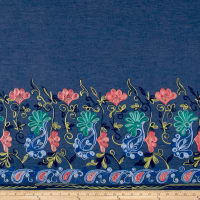 Telio Denim Floral Embroidery Single Border Blue/Pink/Chartreuse