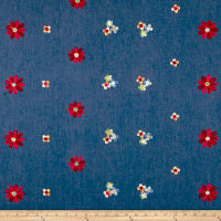 Telio Denim Floral Embroidery Blue/Red/Yellow