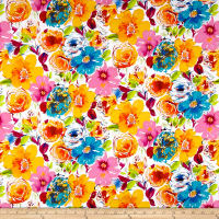 Telio Bloom Cotton Sateen Print Orange/Teal