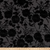 Telio Velvet Devoree Woven Burnout Flowers/Birds Black