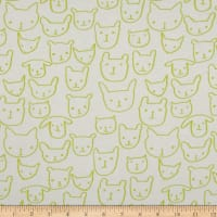 Cotton + Steel Jersey Knit Hello Cat Faces Citron