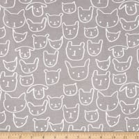 Cotton + Steel Jersey Knit Hello Cat Faces Grey