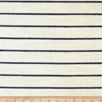 Wesley Mancini Home Faux Linen Basketweave Horizon Stripe Natural/Blue