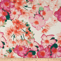Designer Floral Chiffon Bubblegum/Light Peach/Multi