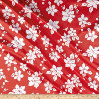 Tropical Floral Cotton Stretch Sateen Red/White