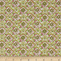 Diamond Trellis Bubble Crepe Green/Salmon/Multi