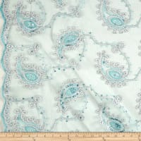 Coco Paisley Sequin Double Border Lace Mint and Silver