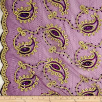 Coco Paisley Sequin Double Border Stretch Lace Plum and Gold