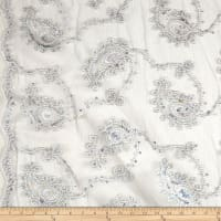 Coco Paisley Sequin Double Border Stretch Lace Silver