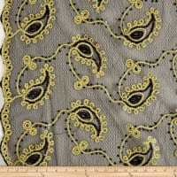 Coco Paisley Sequin Double Border Lace Black and Gold