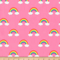 Kaufman Happy Little Unicorns Rainbows Pink