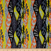 Robert Kaufman Psychedelia Flowers Black/Sunset