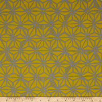 Robert Kaufman Psychedelia  Flowers Toile Taupe/Mustard