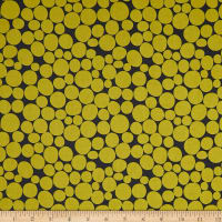 Kaufman Psychedelia  Leaves Circles Dots Mustard/Grey