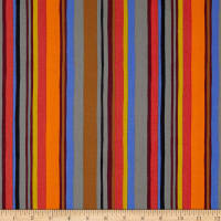 Robert Kaufman Psychedelia Squares, Stripes Orange/Fiesta