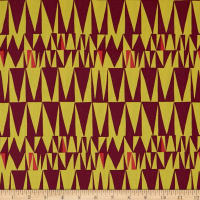 Robert Kaufman Psychedelia Yellow Ovals, Triangles Maroon