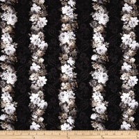Kaufman Wexford Garden White Pencils, Stripes Flower Black