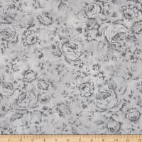 Robert Kaufman Wexford Garden Hot,Air,Balloon, Toile Flower Aqua/Grey