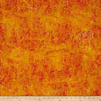 Kaufman Retro Metro 2 Garden Flowers Squares Orange