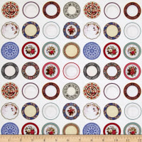 Kaufman Tea Time Fog Dots, Plates White