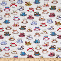 Kaufman Tea Time Sand Dots, Tea, Cups White
