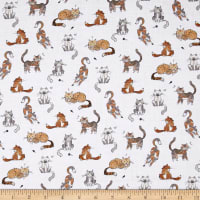 Kaufman Whiskers & Tails Digital Print Sand Dots, Cats, White