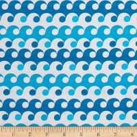 Kaufman Geo Zoo Waves Blue/White