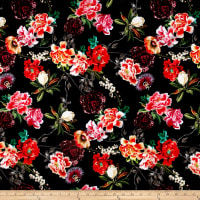 Pine Crest Fabrics Eclectic Flowers on Olympus Athletic Double Knit Black/Red
