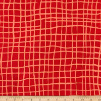 Kaufman Mark To Make Grid Red Batik