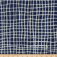 Kaufman Mark To Make Grid Indigo Batik