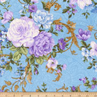 Kaufman Lady Elizabeth Flowers Blue