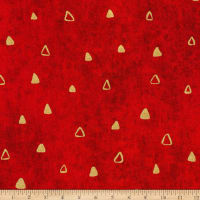 Kaufman Gustav Klimt Triangles Red Metallic