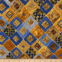 Kaufman Gustav Klimt Squares, Diamonds Cobalt Metallic