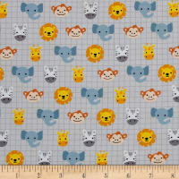 Robert Kaufman Safari Soiree Animal Heads Grey