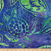 Kaufman Totally Tropical Turtle Collage Sprout