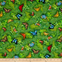"24"" x 44""  Robert Kaufman Picture This Digital Butterflies Wild"
