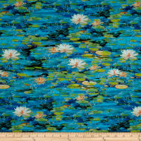 "24"" x 44"" Robert Kaufman Picture This Digital Lily Pads Water"